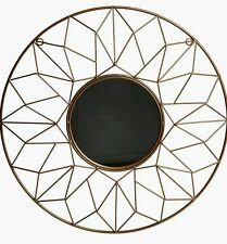 Geometric Wire Gold Metal Round Wall Mirror Moroccan Wall Art New