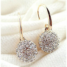BRIDAL/Wedding Gold Diamanté/Crystal/Cubic Zirconia Pave Drop Earrings-UK SELLER