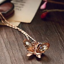 Swarovski Crystal Element Champagne Yellow Gold Butterfly Chain Necklace Pendant