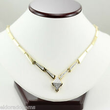 """DESIGNER 3.00 CT. GENUINE DIAMOND STATIONARY NECKLACE SOLID 18K YELLOW GOLD 16"""""""