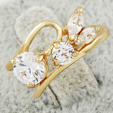 Fashion Jewelry Cubic Zirconia Yellow Gold Filled Womens Wedding Rings Size 7