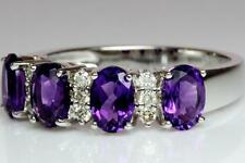 14K White Gold Natural Amethyst & Diamond Victorian Style Engagement Ring Size I