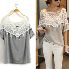 NEW Womens Lady Batwing Lace Collar Blouse Splice Shirt Floral Top Shirt