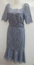 MONSOON BLUE LINDSEY FLORAL LACE OVERLAY PENCIL/ WIGGLE DRESS RRP £119 SIZE 10