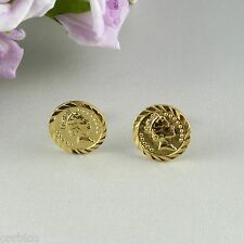 E10 18K Yellow Gold Filled Money Pound Sterling Coin Queens Head Stud Earrings