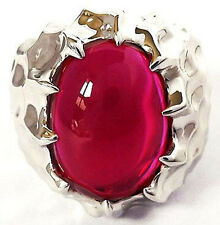 BIG RED RUBY DRAGON SKIN SILVER PLATED BRASS RING 7.75
