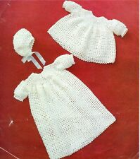 Vintage Baby CROCHET Pattern Dress, Robe and Bonnet  in 4 Ply
