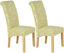 New Serene Oatmeal Floral Fabric Dining Chair with Oak Legs (Pair)
