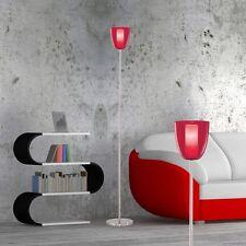 Stand Leuchte Steh Licht Wohnzimmer Diele Lobby Fassung E14 Stahl Glas opal rot