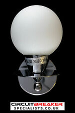 MODERN SILVER CHROME WHITE GLASS INDOOR WALL LIGHT LAMP GLOBE BATHROOM FITTING