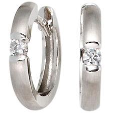 Creolen Ohrringe Goldcreolen 2 Diamanten Brillanten 585 Weißgold mattiert 39333