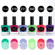 6 Bottles BORN PRETTY Nail Art Stamping Polish Plate Manicure Green Pink Purle