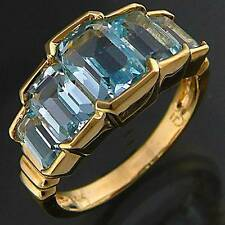 Interesting Tiered 14K GOLD TOPAZ COCKTAIL ETERNITY DRESS RING yellow solid Sz L