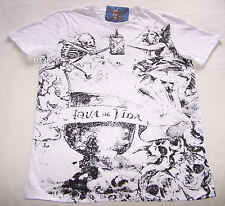 Pirates Of The Caribbean Mens White Aqua De Vida Printed T Shirt Size S New