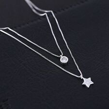 Womens Vintage Diamond Long Double Pendant 925 Silver Chain Necklace Jewelry