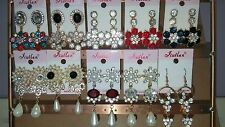 Joblot of 12Pairs Mixed Design Sparkly Diamante Dangly Earrings-NEW Wholesale A