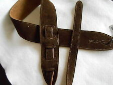 UK MADE COMFY BROWN SUEDE LEATHER ACOUSTIC, ELECTRIC OR BASS GUITAR STRAP