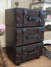 Vintage Style Faux Leather Bedside Table Side Lamp Stand Cabinet Drawers
