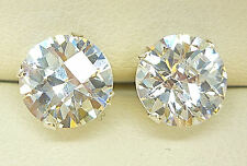 925 STERLING SILVER STUD EARRINGS 8mm ROUND CREATED CLEAR DIAMOND LOOK BRIOLETTE