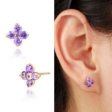 Kids Girls Jewellery 18K Gold GF Cluster Purple Amethyst Clover Stud Earrings