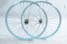 """PAIR 24"""" BLUE RIM MTB WHEELS FROM RALEIGH CHIC 24 x 1.75 ALLOY SUITS 5/6 SPEED"""