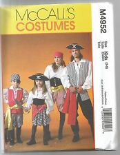 McCalls Sewing Pattern 4952, Pirate Costume, Child 3 - 8, New