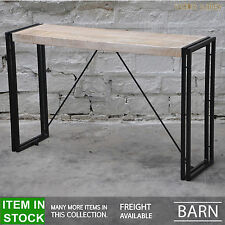 BARN Industrial iron metal timber console hall table solid wood 120cm WHITE