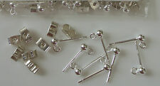 Silver 925 Findings - Bead & Ring Earring Stud with Scrolls x 2 pairs