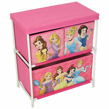 Disney Princess Pink Childrens Girls 3 Drawer Toy Figure Storage Box Cabinet
