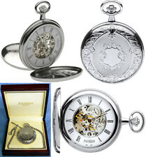 Jean Pierre Twin-Lid Hunter Skeleton Pocket Watch CP with Free Engraving (g251c)