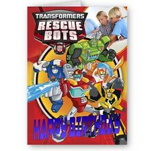 Personalised Photo Added Transformers Rescue Bots A5 Birthday Card