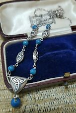 925 STERLING SILVER NECKLACE WITH TURQUOISE GEMSTONES AND CELTIC MOTIFS