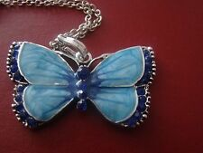 Blue Butterfly crystal silver pendant and chain