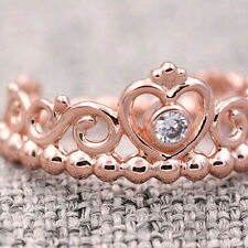 Princess Tiara Ring Rose Gold PL Solid Sterling Silver Stacking Size 58 / 8.5