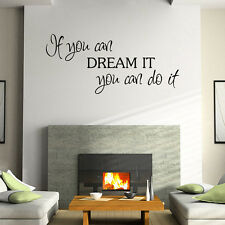 DREAM IT Quote Words Mural Removable Wall Sticker Art Vinyl Decals Mursery Decor