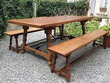 Beautiful French Solid Oak Country Farmhouse Rustic Table & Benches