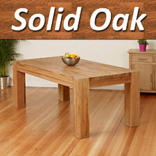 100% Full Solid Oak Dining Table w/ Chunky Legs for Dining Room Furniture 200cm