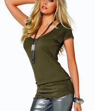 Longshirt T-Shirt m. breitem Bündchen Gr. 50 khaki 614464 Neu