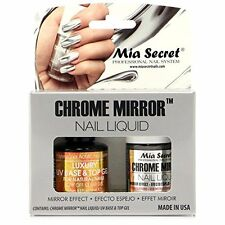 Mia Secret Chrome Mirror Nail Liquid UV Base Top Gel Set Mirror Effect Nails NEW