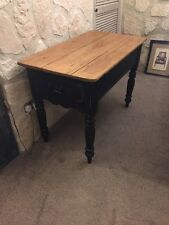 Small Black Victorian Farmhouse Cottage Rustic Pine Kitchen Table With 2 Drawers