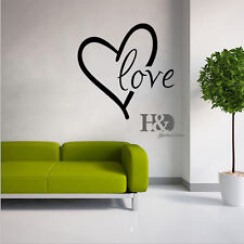Love Heart Mural Quotes Words Removable Wall Stickers Art Vinyl Decal Room Decor