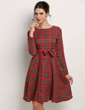 """AILEEN"" BEAUTIFUL LADIES SIZE 10 RED TARTAN PLAID ROCKABILLY RETRO SWING DRESS"