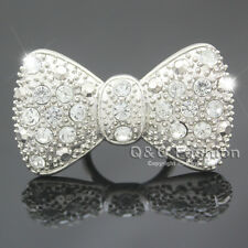 Silver Big Bowtie Bowknot Bow Tie Knot Crystal Pave Chunky Bling Ring Cocktail