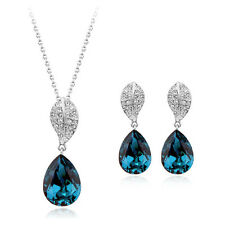 18K WHITE G/PLATED & GENUINE CZ & AUSTRIAN CRYSTAL AQUA NECKLACE & EARRING SET