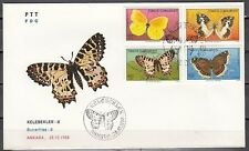 """"""" Turkey, Scott cat. 2421-2424. Butterflies issue on a First Day Cover."""