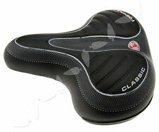 Bike Bicycle Comfortable Sprung Black Wide Saddle Seat