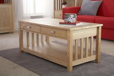Coffee Table Solid Wood Ash Veneer 2 Drawer Occasional Table Slatted Design