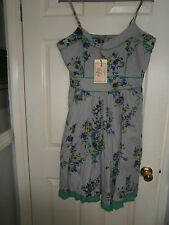JOE BROWNS GARDEN PARTY SUN DRESS GREY MULTI FLORAL PRINT SIZE 18