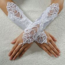 White Satin Pearl Embroided Prom Lace Fingerless Glove Formal Bridal Wedding 600