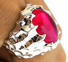 BIG RED RUBY DRAGON SKIN SILVER PLATED BRASS RING 10